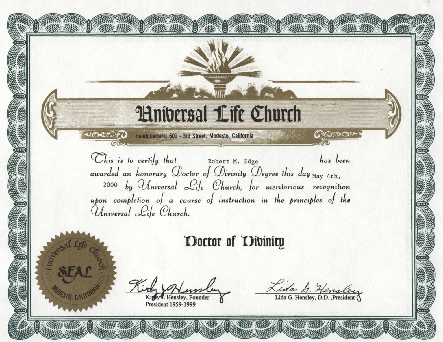 Dr Mince's Doctorate of Divinity