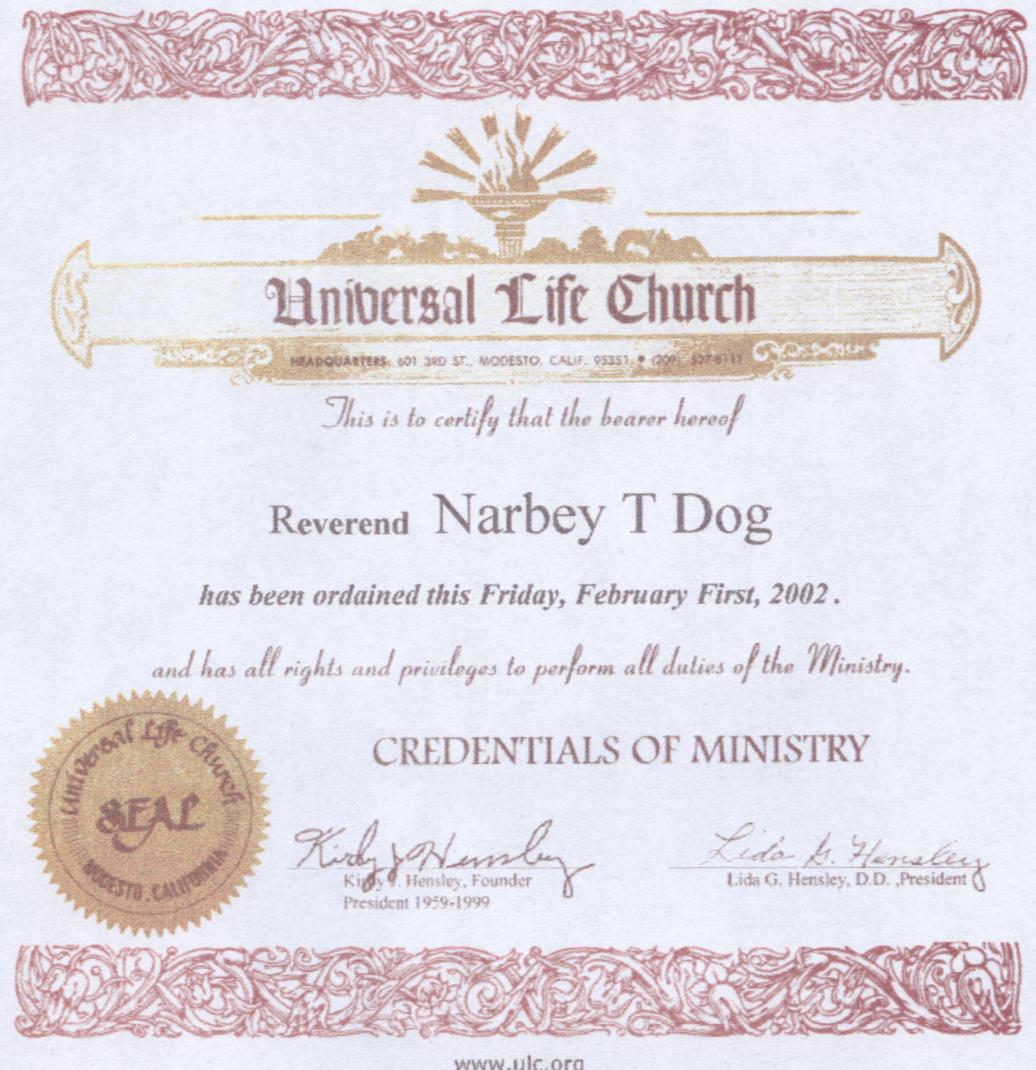 Have your pet ordained by saint larry little narbeys ordination certificate 1betcityfo Image collections